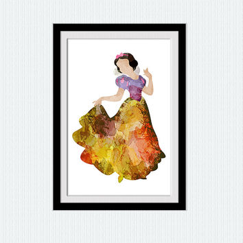 Snow White watercolor poster, Snow White colorful print, Disney wall art, home decoration gift, nursery room wall art, Kids room art  W222