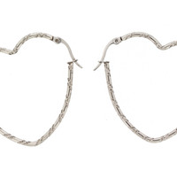 Edforce Stainless Steel Big Heart Hoop Earring (42x40mm)
