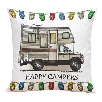 Fashion Style Pillows Case Cover Happy Campers Bus Home Linen Square decorative pillowcases Throw Invisible Zipper 1pc #20 Gift