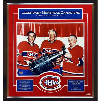 MAURICE RICHARD, JEAN BELIVEAU, GUY LAFLEUR SIGNED, 9 OF 10 PATCH WITH PHOTO