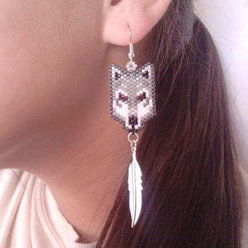 Native American Made Beaded Wolf Earrings