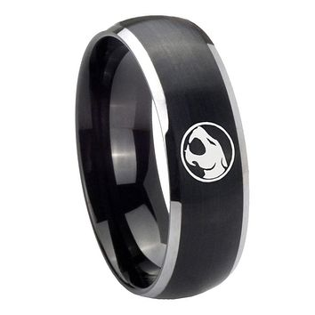 8mm Thundercat Dome Brushed Black 2 Tone Tungsten Carbide Mens Engagement Band