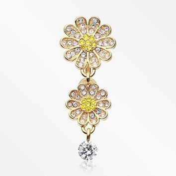 Golden Daisy Glam Multi-Gem Reverse Belly Button Ring