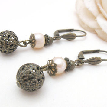 Art deco pearl earrings with antiqued brass filigree beads