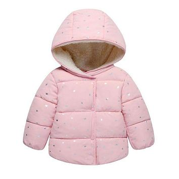 Autumn Winter Baby Outerwear Infants Girls Hooded Printed Princess Jacket Coats first birthday Gifts Cotton Padded Clothes