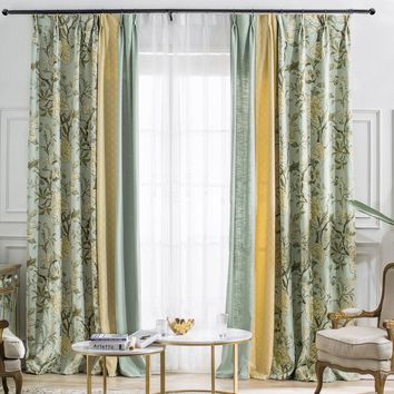 A816  Flora Pattern/Light Yellow/Sheer Blue 3 in 1 Window Curtain Panel
