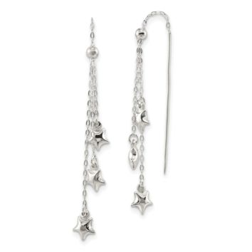 Sterling Silver Polished and D/C Star Beaded Threader Earrings QE13606