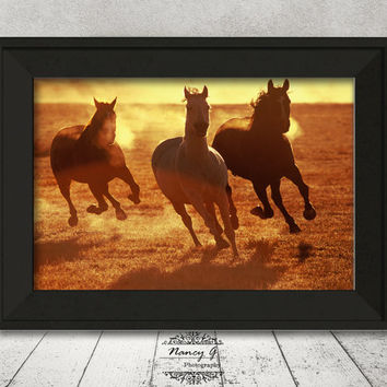 Horses Print, Oregon, Western Decor, Living Room Art, Nature Print, Animal Print, Horse Print, Wall Art Gift, Rustic Decor, Running Horses