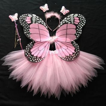 Hot Performance Dress Halloween Cosplay Fairy Angel Wings Insect Theme Costume 6 Colors Children Girl Butterfly Wings Costume