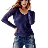 Long-Sleeve Sweetheart Textured Sweater