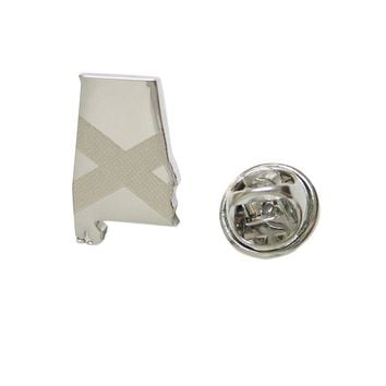 Alabama State Map Shape and Flag Design Lapel Pin
