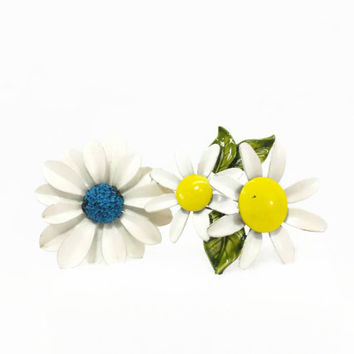 Pair of Vintage Enamel Flower Pin Brooches, Double Daisy, Yellow, Green, White, Blue