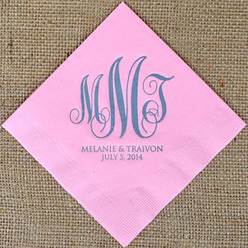 100 Script Monogram Napkins with Names and Date