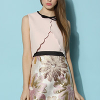 Tea Date Pink Dress with Scallop Flaps Pink
