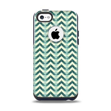 The Vintage Green & Tan Chevron Pattern Apple iPhone 5c Otterbox Commuter Case Skin Set