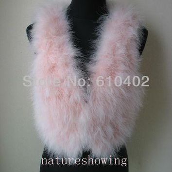 free shipping/Genuine Real ostrich feather fur    vest   new style / pink #1