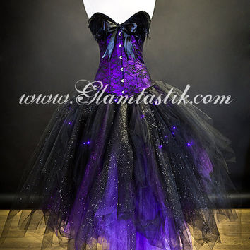 Custom Size Light up Purple and Black lace feather sparkle Burlesque Corset prom dress