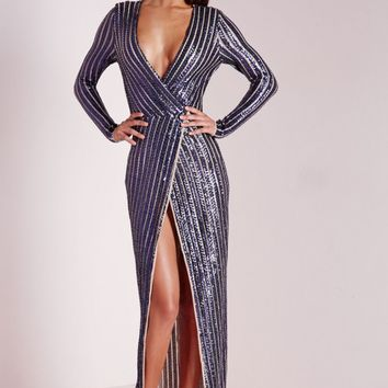 Missguided - Premium Sequin Stripe Wrap Maxi Dress Navy
