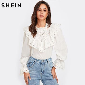 Eyelet Embroidered Ruffle and Bell Cuff Blouse White Blouses Autumn Elegant Women's Long Sleeve Blouse