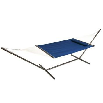 Coastal Solid Hammock with Pillow in Blue