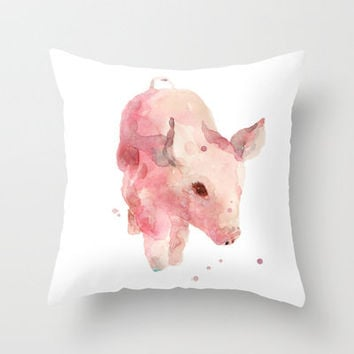 pig, piglet, piggy wiggy went to market, this little piggy, pink, nursery decor Throw Pillow by Eastwitching | Society6
