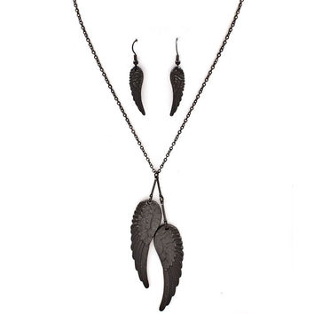 gunmetal angel wing necklace and earrings set