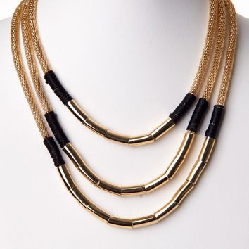 Black Gold Layered Link Necklace/Earring Set