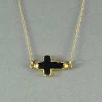 Black Howlite  Sideways Cross Edged with 24k gold - Fashion 2012 Necklace, 14K Gold Fill Chain, Modern, Simple, Delicate, Everyday Jewelry