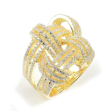 Sterling Silver Gold Plated and Cubic Zirconia Weave Basket Ring
