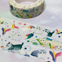 super cute cat naughty cat washi tape 10M meow meow pet cat sticker tape cat label Little kitty pussy cat yarns cat short haired gray cat