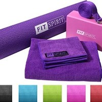 "Fit Spirit® Yoga Starter Set Kit - Includes 6MM 1/4"" Inch PVC Exercise Mat and Optional Yoga Block, Yoga Towels & Yoga Strap - Choose Your Color & Accessories"