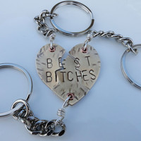 Mature Content - Keychain - Best Bitches Brass Heart Keychains