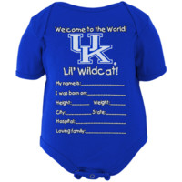 Kentucky Wildcats Newborn Welcome to the World Creeper - Royal Blue - http://www.shareasale.com/m-pr.cfm?merchantID=7124&userID=1042934&productID=554337404 / Kentucky Wildcats