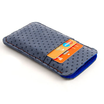 Leather iPhone case. Nubuck leather blue iPhone 5 sleeve with pocket for Creditcard. iPhone 5/5s leather sleeve. Wool felt