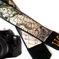 Personalized Black DSLR / SLR Camera Strap. World Map Camera Strap. Camera accessories. Photographer gift. Map. Australia. North America.