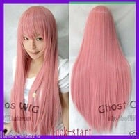 Hot Sell! New Long Silver Pink Cosplay Straight Wig+cap/Heat-resistant #dr32142