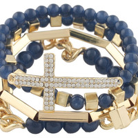Navy Blue with Goldtone 4 Piece Bundle of Iced Out Cross, Link, and Bar Chain Beaded Stretch Bracelet