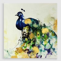 Watercolor Peacock Embellished Canvas Print