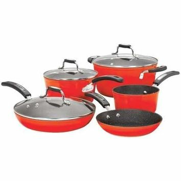 THE ROCK(TM) by Starfrit(R) 034612-001-0000 THE ROCK(TM) by Starfrit(R) 8-Piece Cookware Set with Bakelite(R) Handles (Red)