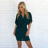 Royal Bodycon Dress in Emerald Green