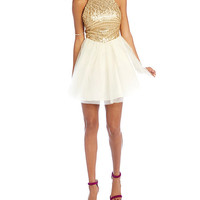 Masquerade Sequined-Bodice Halter Party Dress | Dillards