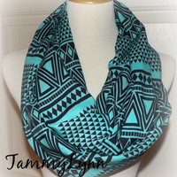NEW Deep Mint Black Triangle Arrow Ethnic Rayon Challis Infinity Scarf Ready to Ship!! Women's Accessories