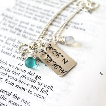 SALE-Personalized, Longitude & Latitude, Coordinates Necklace, Perfect to Remember Honeymoon, Wedding, Birth, Home Place, Vacations, Etc.