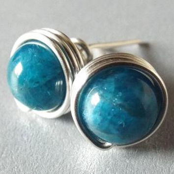 Apatite Earrings, Blue Apatite Stud Earrings, Blue Stone Earrings, Silver Gemstone Studs, Homemade Jewelry, Ocean Blue Studs, Azure Blue