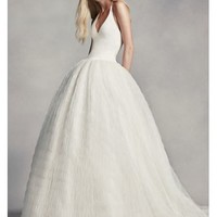 White by Vera Wang Halter Tulle Wedding Dress - Davids Bridal