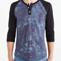 ALTERNATIVE Patterned 3/4-Sleeve Henley Tee- Navy