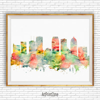 Tampa Print, Tampa Art Print, Tampa Skyline, Tampa Florida, Office Decor, City Skyline Prints, Skyline Art, Cityscape Art, ArtPrintZone