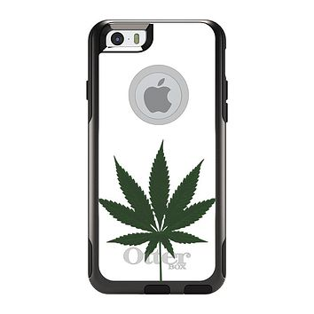"DistinctInk™ Custom Black OtterBox Commuter Series Case for Apple iPhone 6 / 6S (4.7"" Screen) - Marijuana Leaf Drawing"