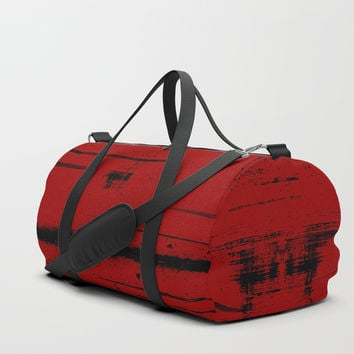 Black Grunge on Red Duffle Bag by gx9designs