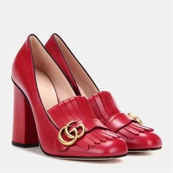 Gucci Women's Leather Fashion High Heeled Sneakers Shoes